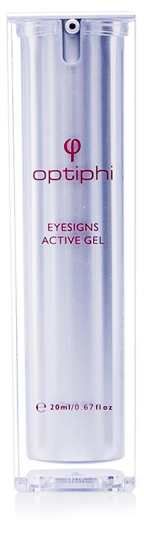 Eysigns Active Gel Produktfoto : Pumpflasche mit roter Aufschrift Eyesigns Active Gel intensives Augengel bei Schwellungen und dunklen Ringen