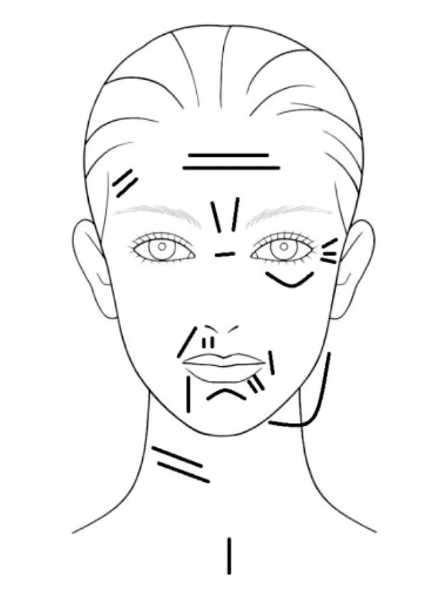 Skizze eines Gesichtes mit Strichen da wo Falten sein können